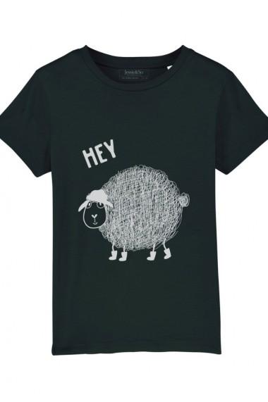 Tricou Hey Sheepy baieti, 100% Bumbac Organic, Negru, O519MTCB
