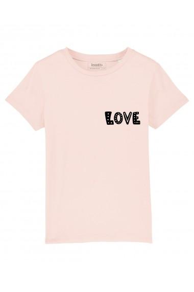 Tricou LOVE fetite, 100% Bumbac Organic, ROZ, O601MTCF