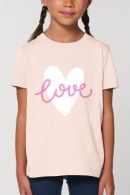 Tricou LOVE pentru fetite, 100% Bumbac Organic, ROZ PRAFUIT, O602MTCF