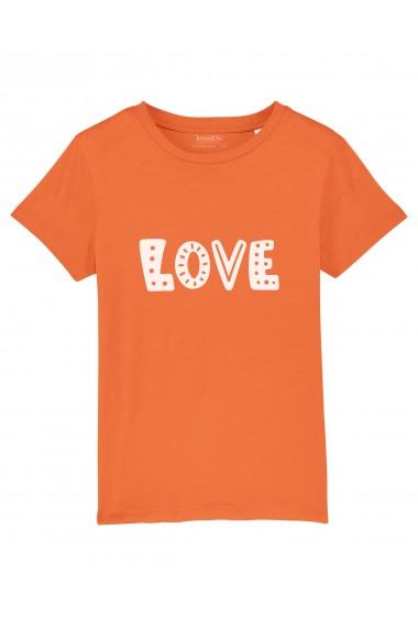 Tricou LOVE fetite, 100% Bumbac Organic, PORTOCALIU, O604MTCF