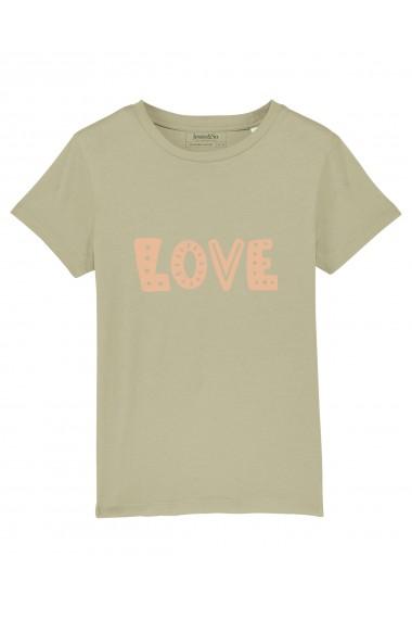 Tricou LOVE fetite, 100% Bumbac Organic, KAKI, O607MTCF