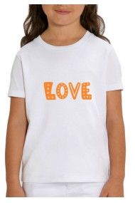 Tricou LOVE fetite, 100% Bumbac Organic, ALB,O610MTCF