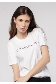 Tricou Confidence, Bumbac Premium, Alb, O708TC