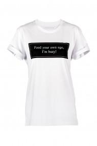 Tricou Feed Your Own Ego, Bumbac Premium, Alb, O710TC