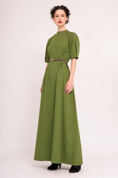 Rochie maxi verde cu maneci bufante