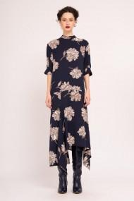 Rochie maxi asimetrica cu imprimeu floral