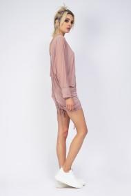 Rochie scurta Bluzat cu decolteu si snur ajustabil roz pudra
