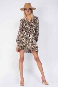 Rochie mini Bluzat petrecuta voal leopardat