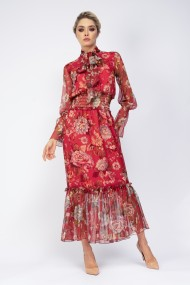 Rochie lunga maxi Bluzat din voal rosu printat cu brau elastic