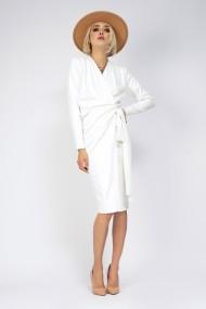 Rochie midi Bluzat petrecuta din tricot alb