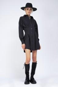 Rochie scurta Bluzat tip camasa cambrata Neagra