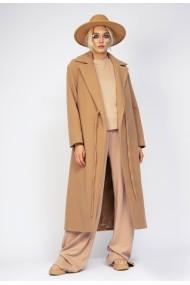 Palton maxi Bluzat din stofa groasa Camel