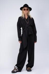 Camasa Bluzat minimalista cu esarfe Neagra