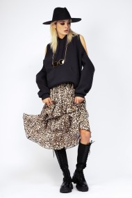 Fusta lunga Bluzat cu volane leopardata