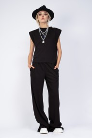 Tricou Bluzat cu umeri din tricot negru