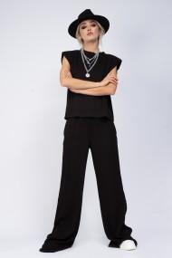 Pantaloni largi Bluzat wide leg din tricot negru
