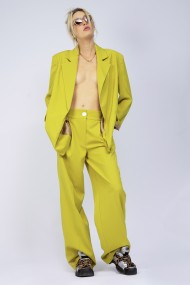 Pantaloni largi Bluzat cu dunga galben/verde neon
