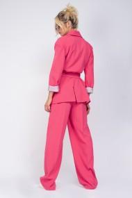 Pantaloni largi Bluzat cu dunga roz neon