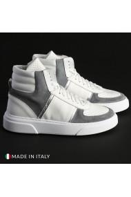 Pantofi sport R21 MIAMI-ALTO_PELLE_BIANCO-GRG