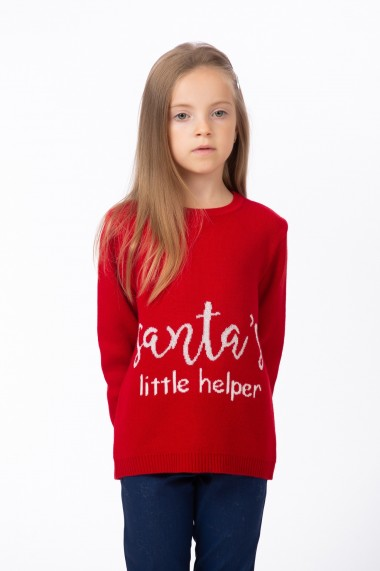 Pulover rosu Santa`s little helper, BE YOU