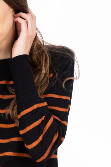 Pulover negru cu dungi cupru