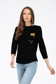 Bluza neagra, buzunar cu pisica