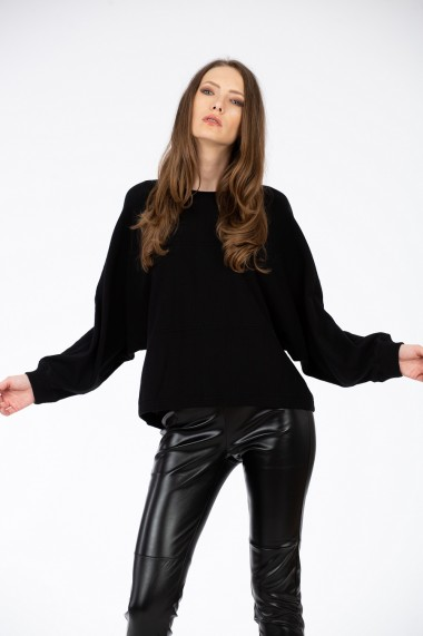 Pulover negru 0903, model over, BE YOU