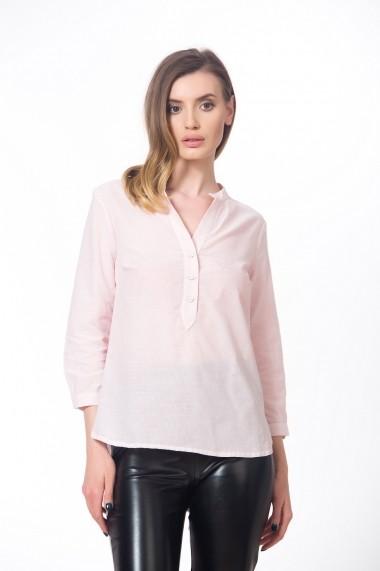 Bluza alba cu dungi roz guler tunica Be You