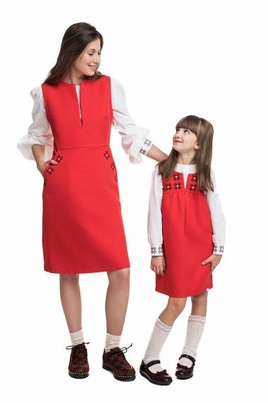 Set mama-fiica Sarafan Logo Red Cotton