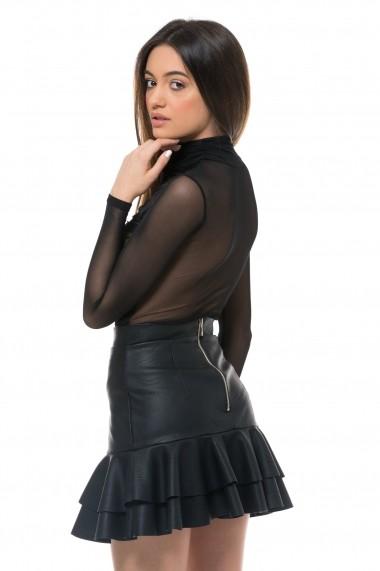Helanca Carolina D din tulle cu drapaje Neagra