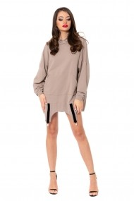 Rochie-Hanorac Carolina D Hoodie Dress Oversized cu Portjartier Super Girl Bej