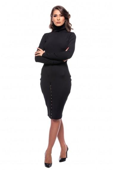 Rochie de zi Carolina D bodycon din tricot texturat cu nasturi Neagra