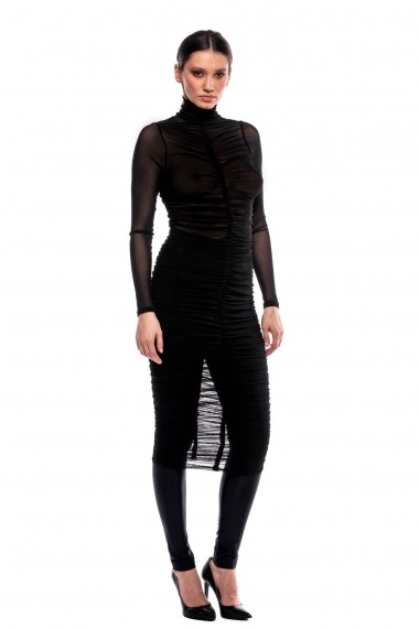 Rochie de seara Carolina D drapata din tulle elastic Why Not Neagra