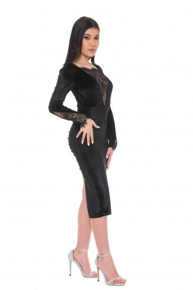 Rochie de seara midi Carolina D Night in Paris Velvet Dress Neagra