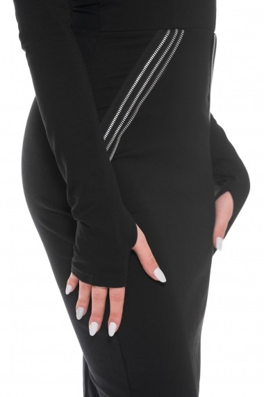 Rochie de seara Carolina D Zipper Black Dress Neagra