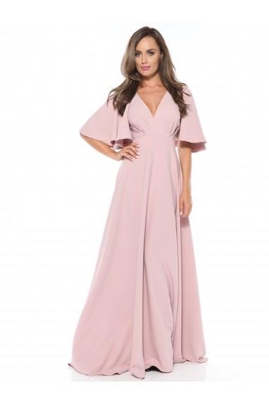 Rochie roz pastel Roserry lunga cu maneca evazata