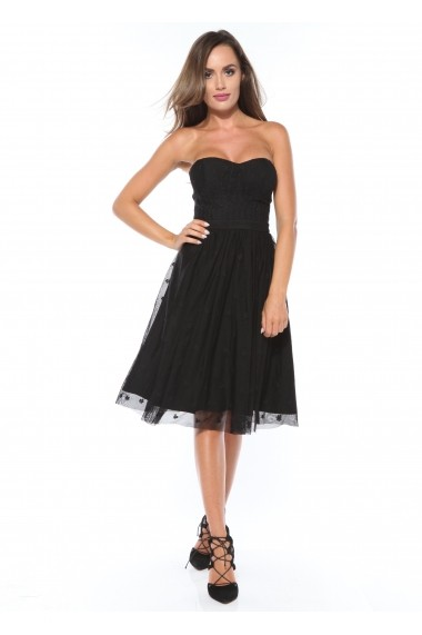 -63% Rochie neagra Roserry clos din broderie pe tulle aa58c4d269