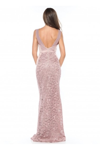 Rochie Old Pink Roserry lunga din broderie si tafta