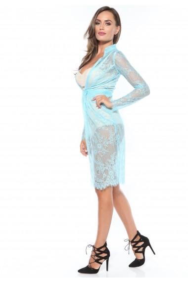 Rochie bleu Roserry din dantela cu body