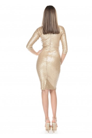 Rochie aurie Roserry midi din paiete - CRM 1RSY484