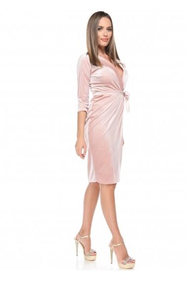Rochie roz Roserry din catifea petrecuta stil capod
