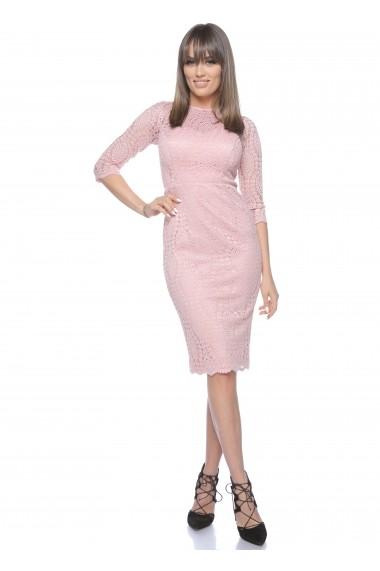 Rochie roz Roserry midi din dantela -  CRM_1RSY511