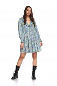 Rochie de zi mini Cuanna larga din poliester, Multicolor