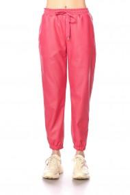 Pantaloni largi din piele eclogica roz