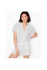 Pijama Victoria`s Secret Cotton Cropped Short PJ Set White Black Dot