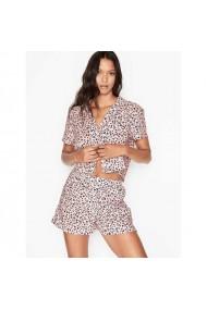 Pijama Victoria`s Secret Cotton Cropped Short PJ Set Pink Black mini Leopard Hearts