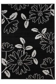 Covor Decorino Floral Urachi, Negru/Gri, 80x150 cm