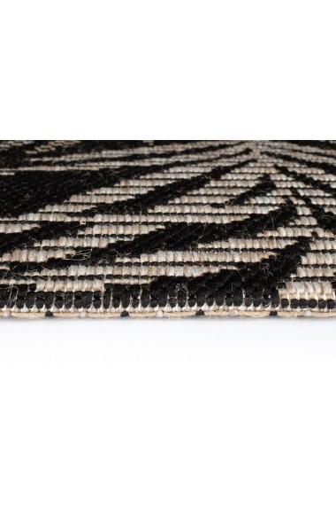 Covor Decorino Floral Cordoba, Negru/Gri, 80x150 cm