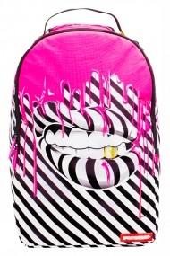 Rucsac Sprayground Illusion Lips Alb-Negru si Roz - Sticker Cadou