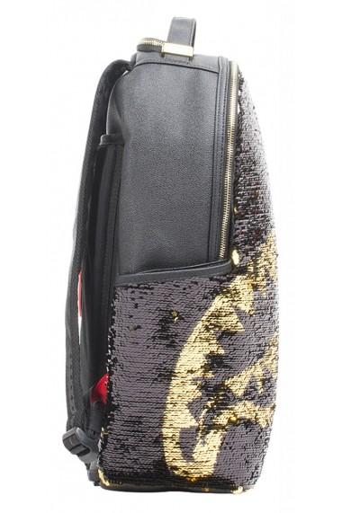 Rucsac Sprayground Gold Sequin Shark Auriu si Negru - Sticker Cadou
